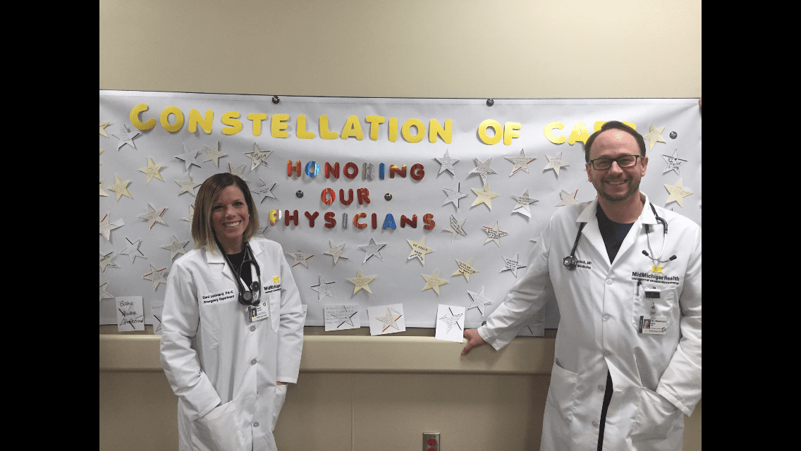 2018 Doctors Day celebration at MMH/Gratiot: Dani Leonard,PA and Dr. Dave Newcomb